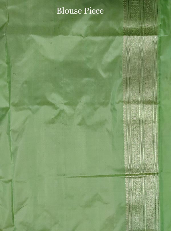 Pista green katan silk handloom Banarasi saree with money plant jaal (5) blouse