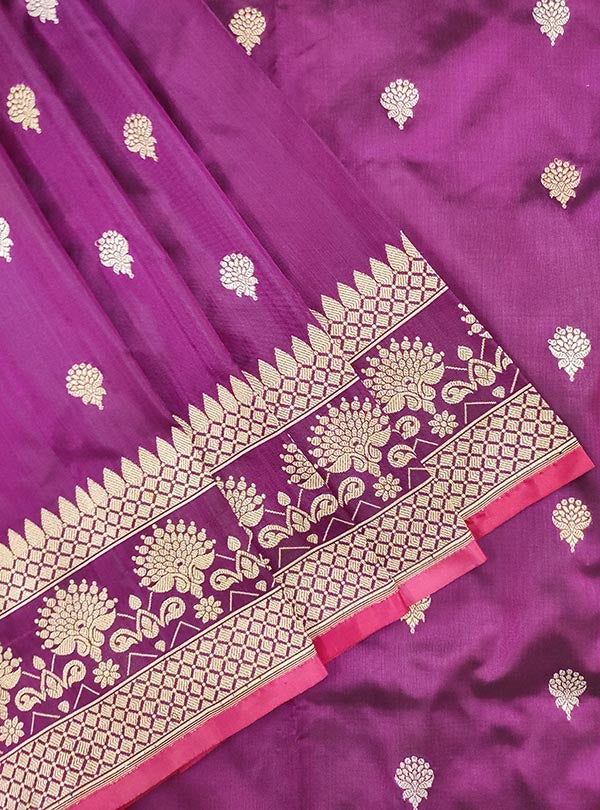 Plum Katan silk handloom Banarasi saree with artistic sona rupa booti (2) CLose up