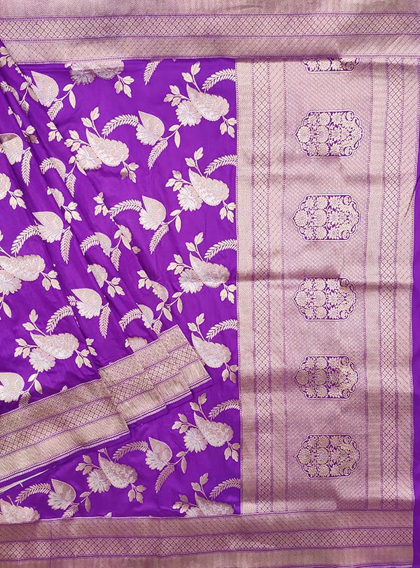 Purple Katan Silk handloom Banarasi saree with aesthetic sona rupa jaal (1) Main