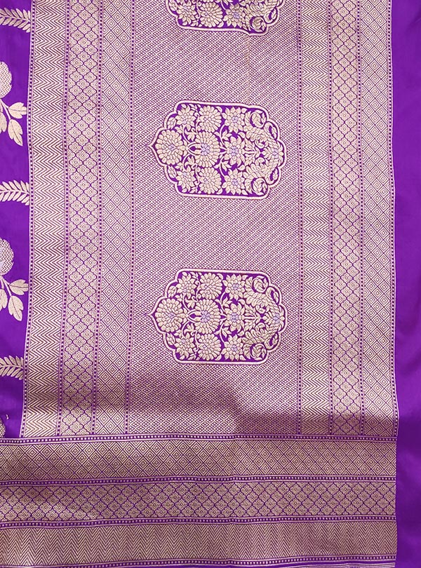 Purple Katan Silk handloom Banarasi saree with aesthetic sona rupa jaal (4) Anchal