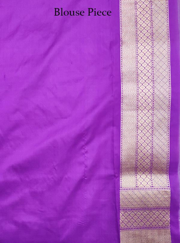 Purple Katan Silk handloom Banarasi saree with aesthetic sona rupa jaal (5) blouse