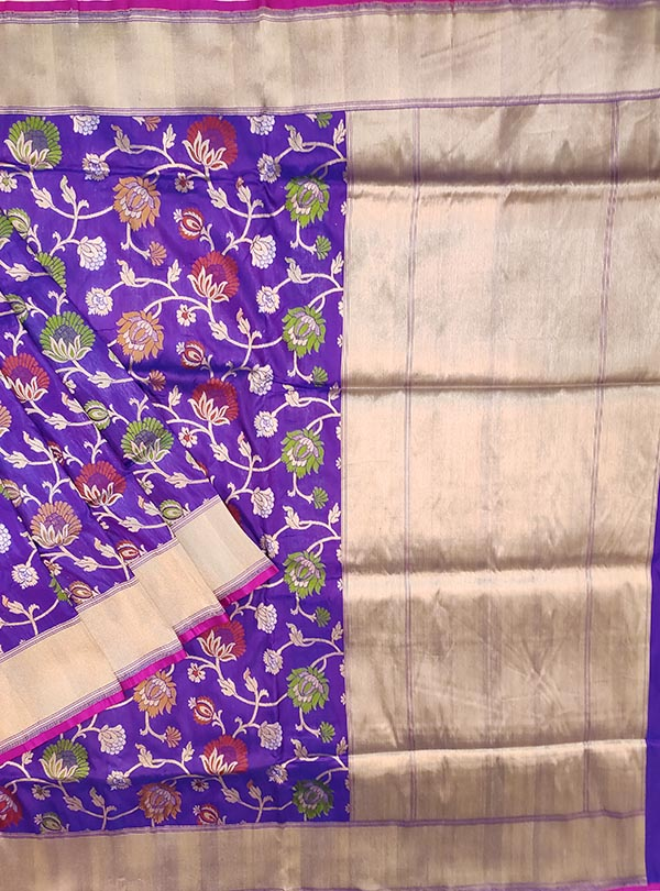 Purple Katan silk Banarasi saree with multi color flower jaal (1) main