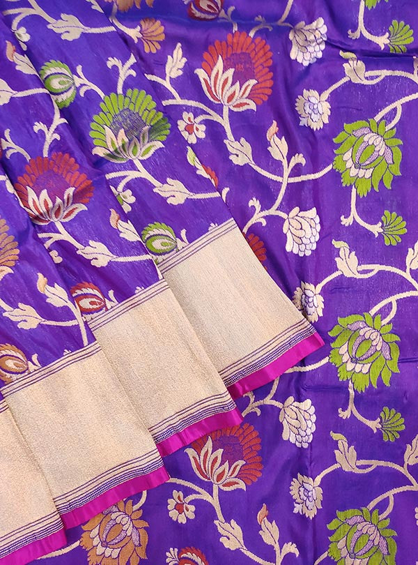 Purple Katan silk Banarasi saree with multi color flower jaal (2) close up
