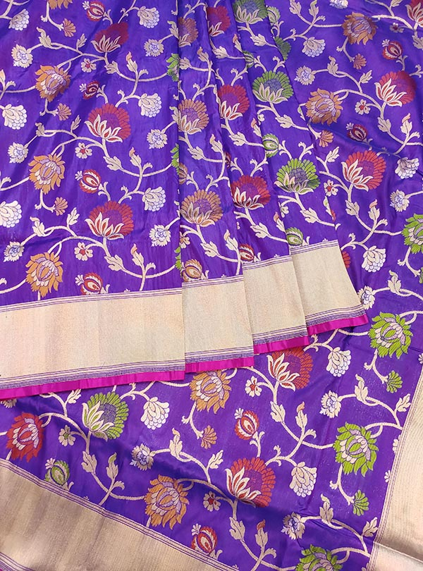 Purple Katan silk Banarasi saree with multi color flower jaal (3) center