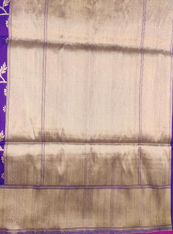 Purple Katan silk Banarasi saree with multi color flower jaal (4) anchal