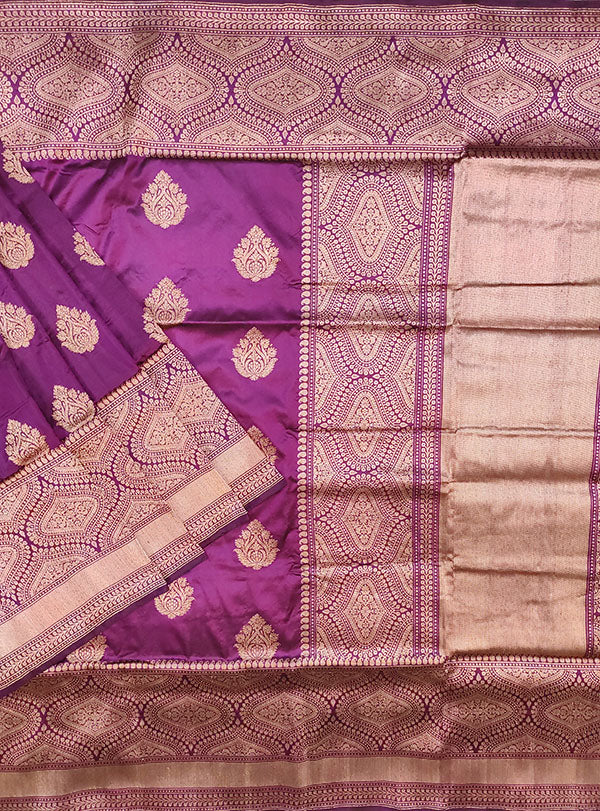 Purple Katan silk handloom Banarasi saree with stylized boota (1) main