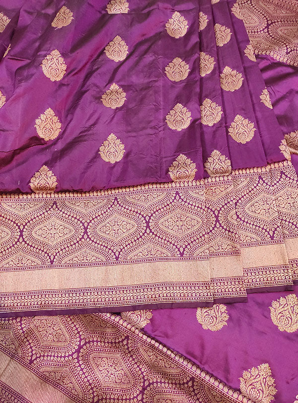 Purple Katan silk handloom Banarasi saree with stylized boota (3) center