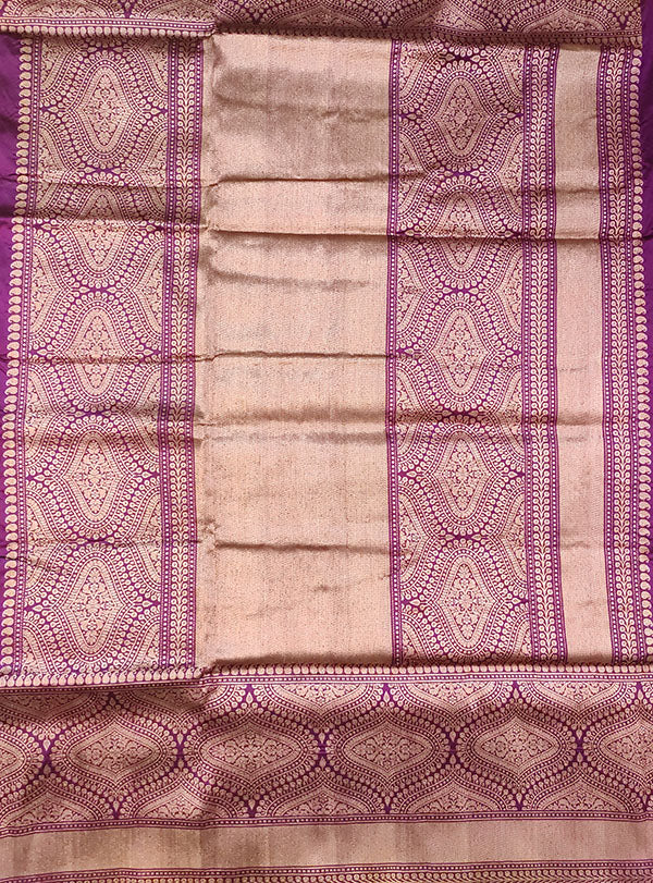 Purple Katan silk handloom Banarasi saree with stylized boota (4) pallu