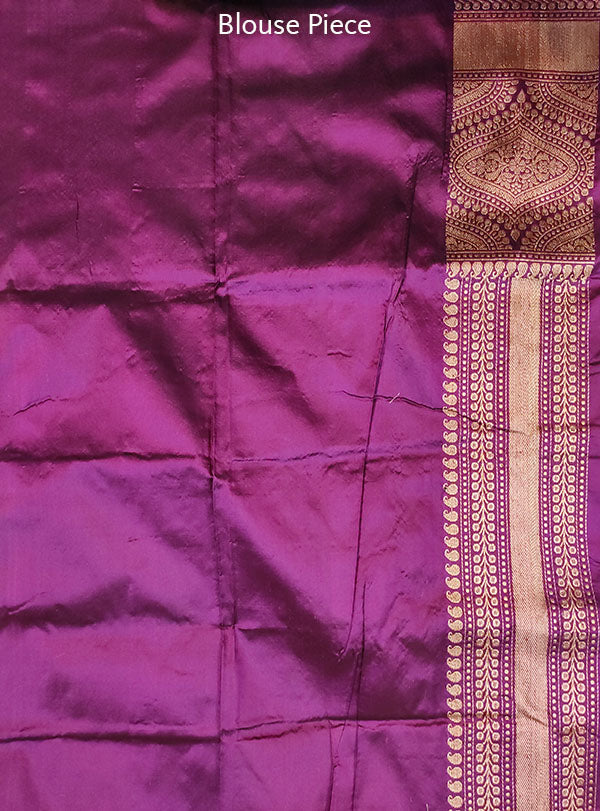 Purple Katan silk handloom Banarasi saree with stylized boota (5) blouse