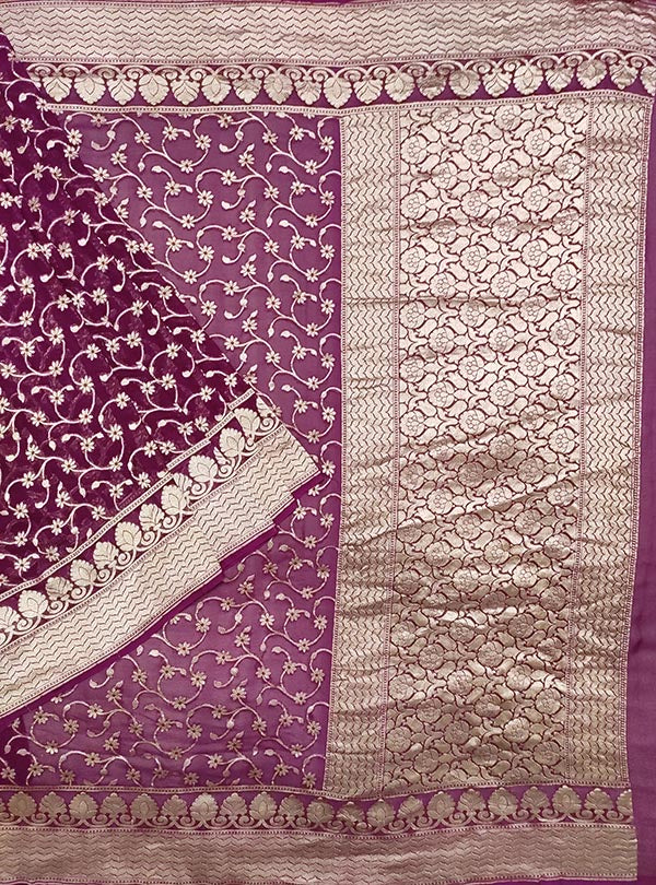 Purple Khaddi georgette Banarasi saree with meenedar delicate flower jaal (1) main