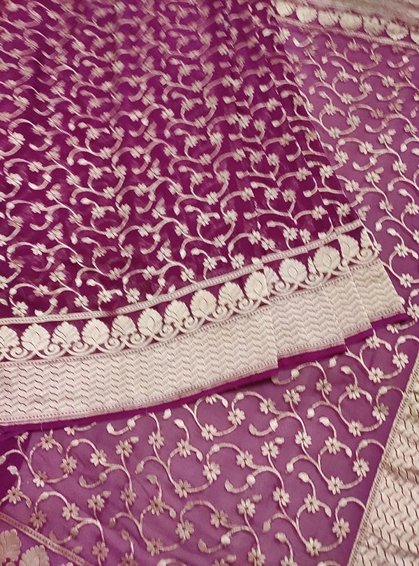 Purple Khaddi georgette Banarasi saree with meenedar delicate flower jaal (3) center
