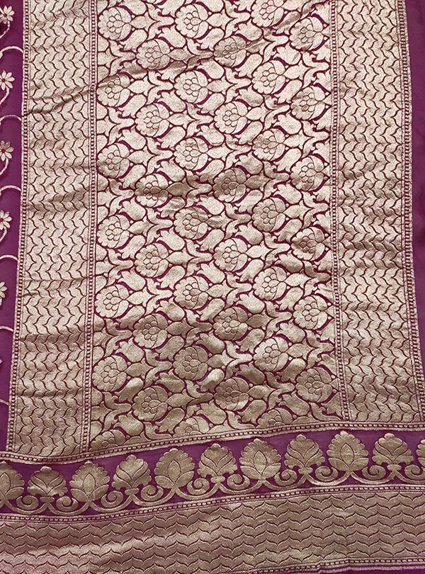 Purple Khaddi georgette Banarasi saree with meenedar delicate flower jaal (4) pallu
