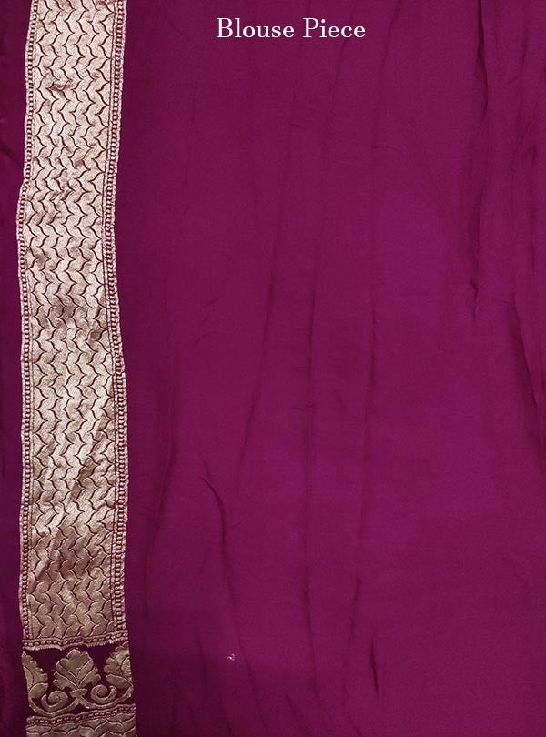 Purple Khaddi georgette Banarasi saree with meenedar delicate flower jaal (5) blouse