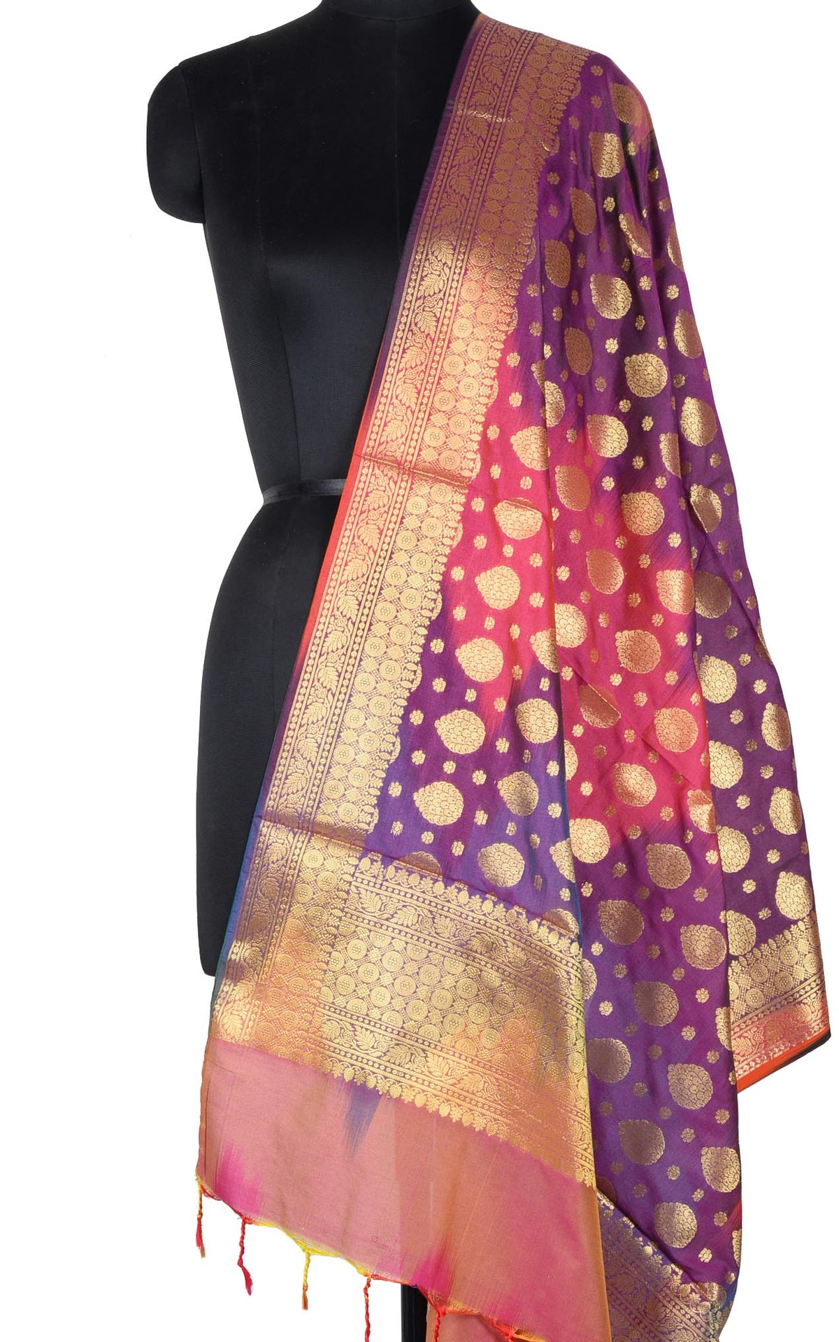 Purple Multi color Ikat dyed Banarasi dupatta with leaf shape booti (1) Main