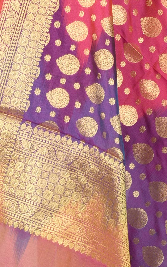 Purple Multi color Ikat dyed Banarasi dupatta with leaf shape booti (2) Closeup