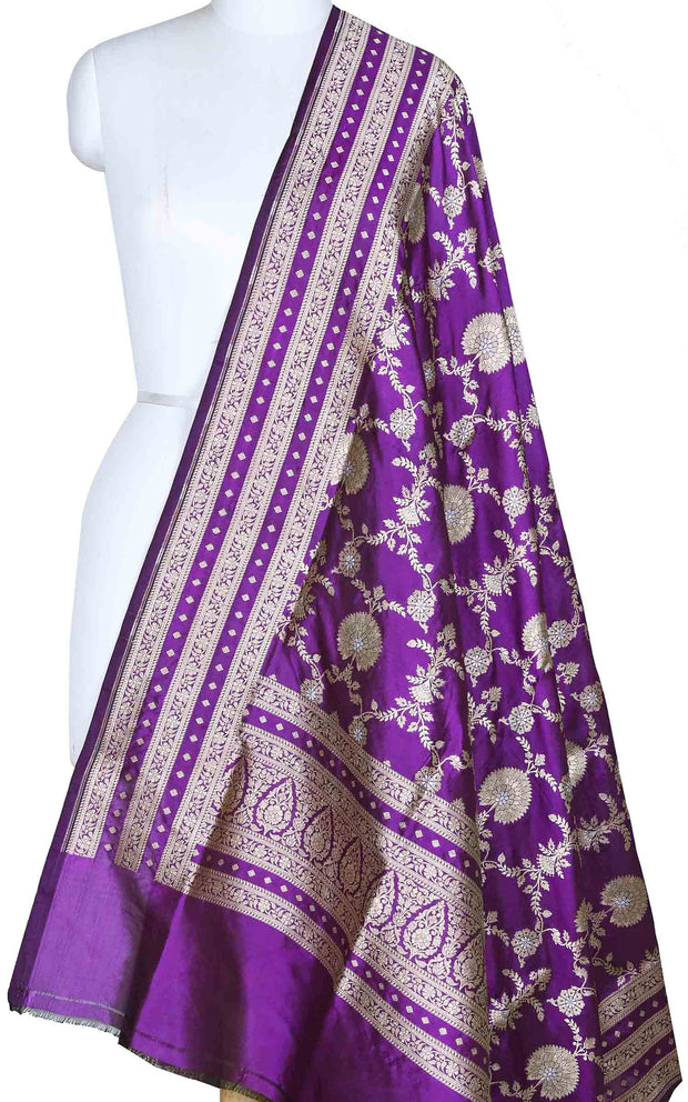 Purple katan silk Banarasi dupatta with alfi jaal (1) Main