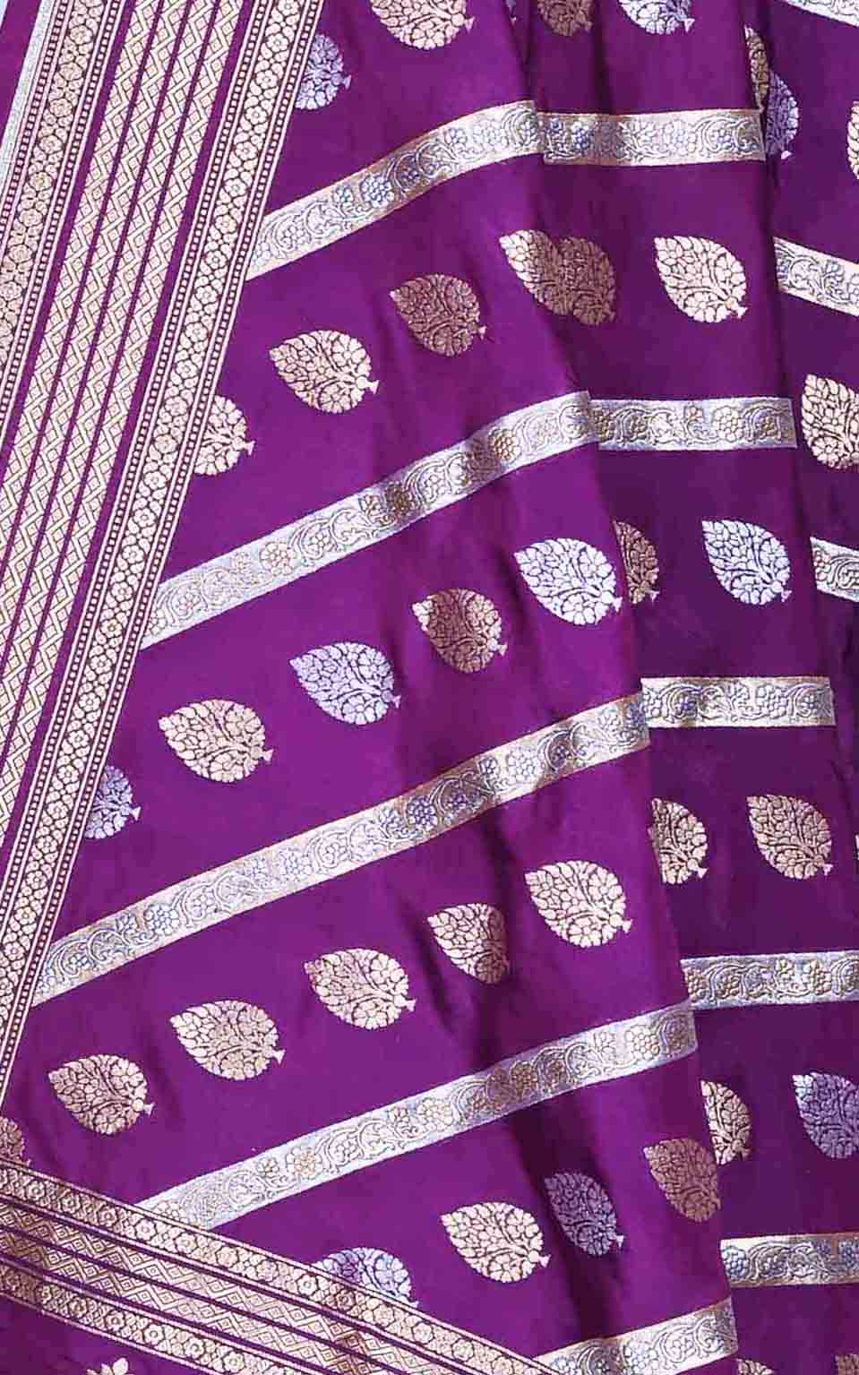 Purple katan silk Banarasi dupatta with diagonal leaf boota (2) Close up