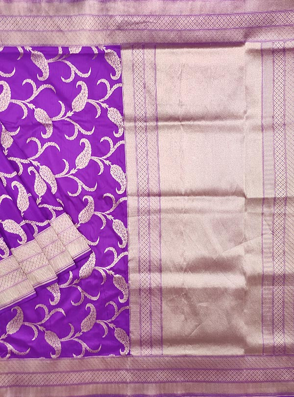 Purple katan silk Banarasi saree with artistic paisley jaal (1) Main