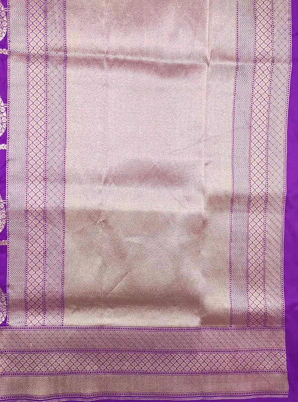 Purple katan silk Banarasi saree with artistic paisley jaal (4) ANchal