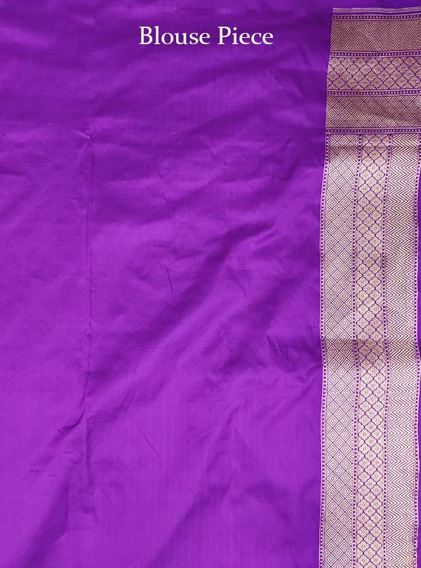 Purple katan silk Banarasi saree with artistic paisley jaal (5) Blouse