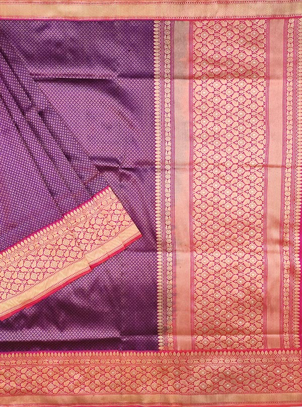 Purple katan silk handloom Banarasi saree with tanchoi mini flower booti (1) MAIN