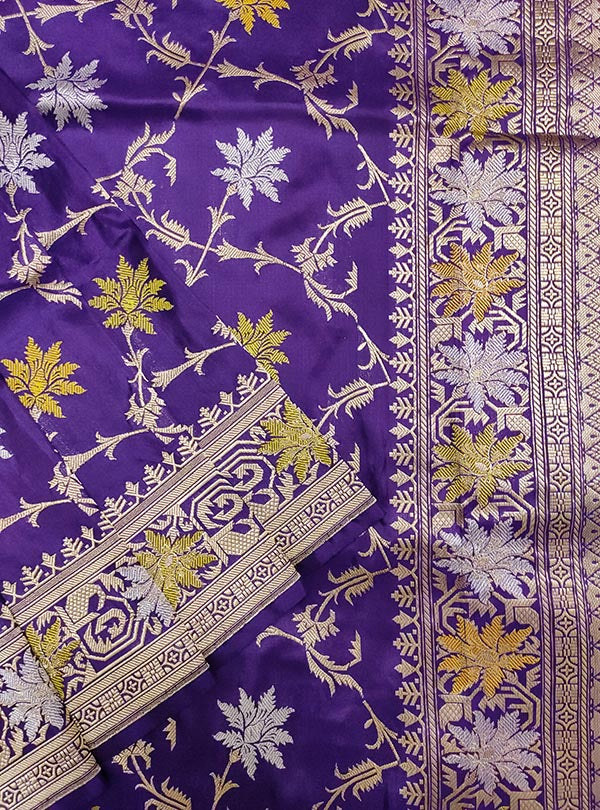 Purple katan silk handloom meenedar Kadwa Jangla Banarasi saree (2) close up