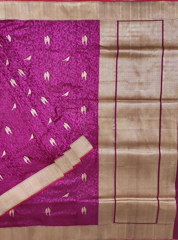 Purple katan silk tanchoi Banarasi saree with kaduwa woven bird booti (1) main