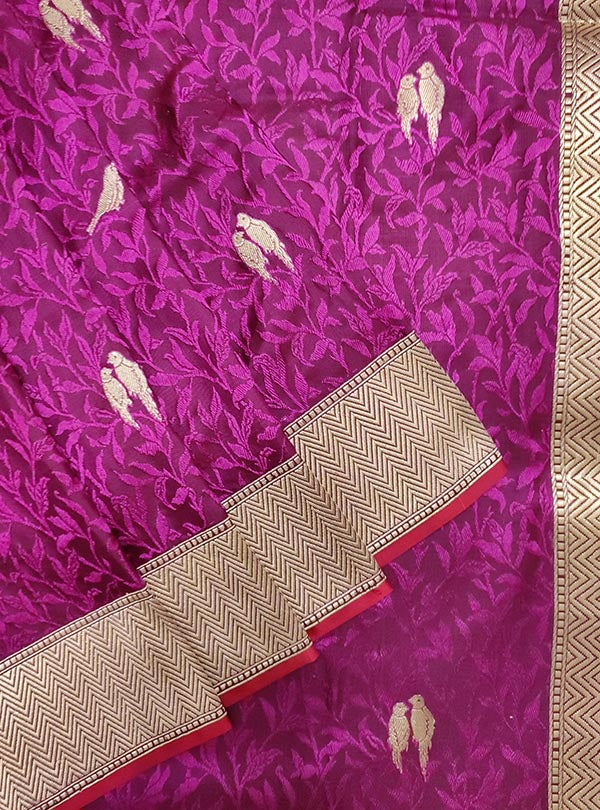Purple katan silk tanchoi Banarasi saree with kaduwa woven bird booti (2) close up