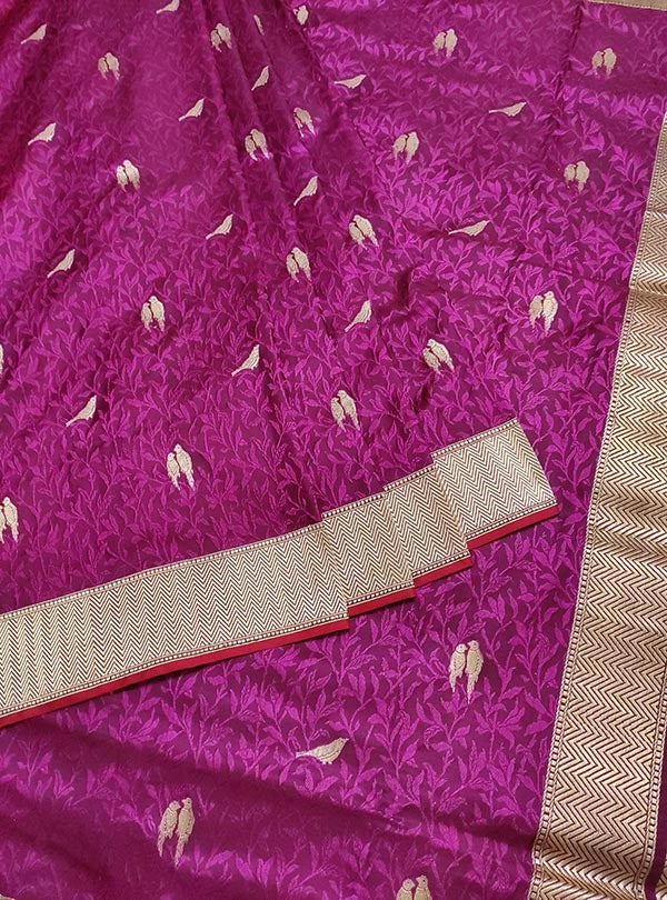 Purple katan silk tanchoi Banarasi saree with kaduwa woven bird booti (3) center