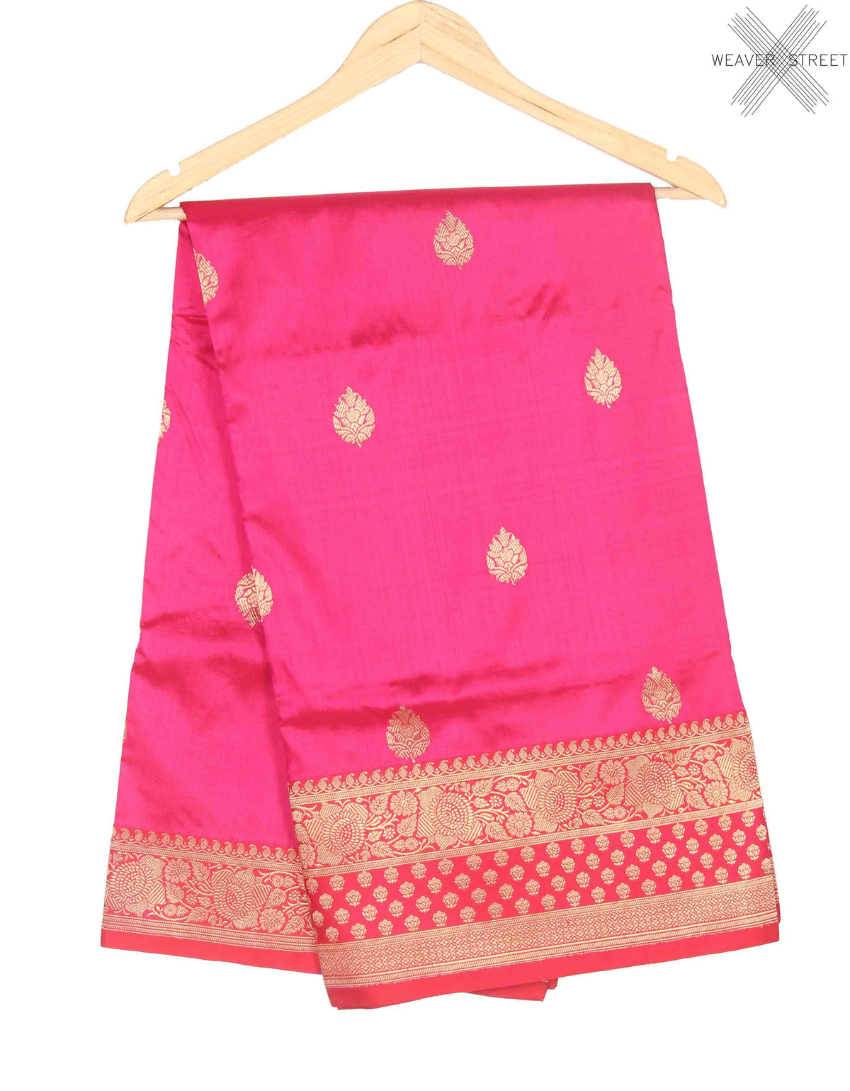 Rani Pink Katan Silk Handwoven Banarasi saree with kaduwa flower boota (1) Main