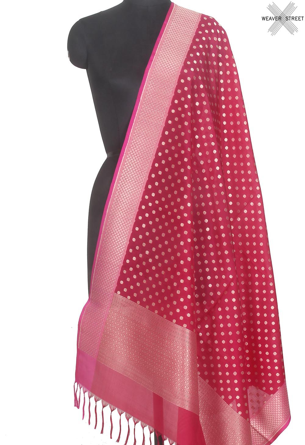 Rani pink summer silk handwoven Banarasi dupatta with polka dots (1) Main