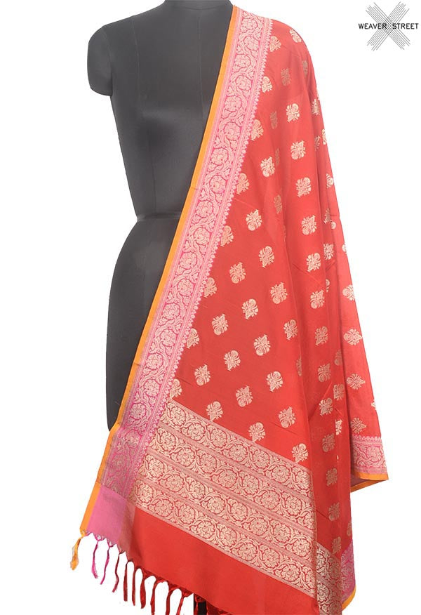 Red Banarasi silk dupatta with flower in pot buta (1) Main