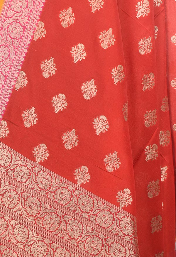 Red Banarasi silk dupatta with flower in pot buta (2) Close up