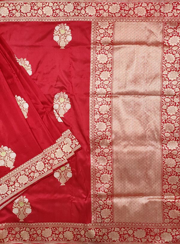 Red Katan silk handloom Banarasi saree with multi meena flower pot boota (1) main