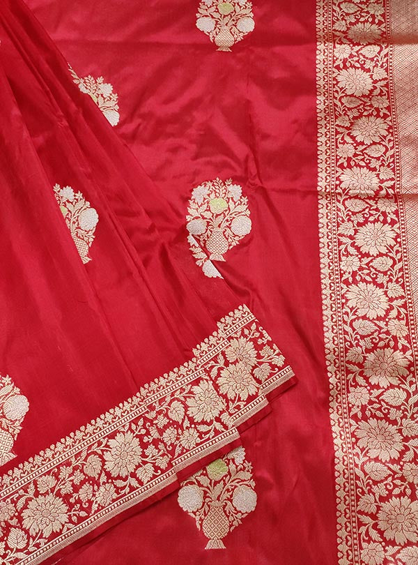 Red Katan silk handloom Banarasi saree with multi meena flower pot boota (2) close up