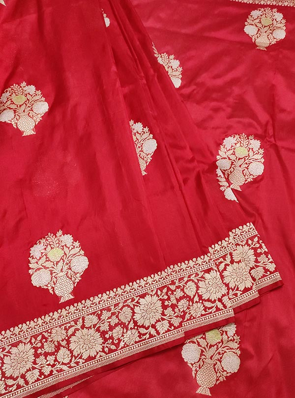 Red Katan silk handloom Banarasi saree with multi meena flower pot boota (3) center