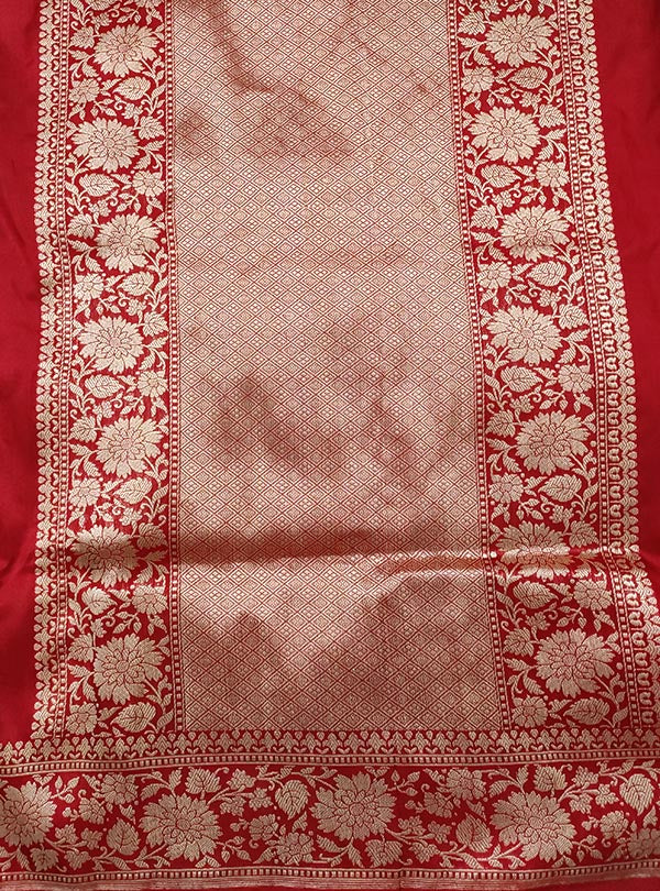 Red Katan silk handloom Banarasi saree with multi meena flower pot boota (4) anchal