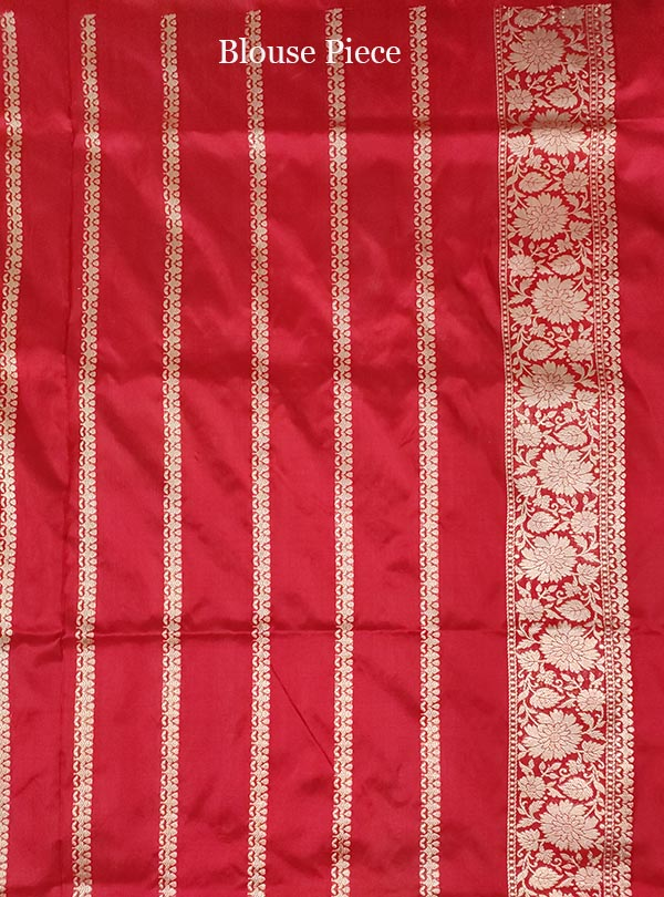 Red Katan silk handloom Banarasi saree with multi meena flower pot boota (5) blouse