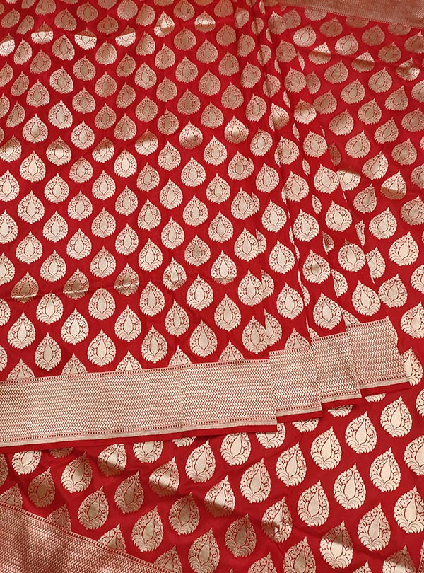 Red Katan silk handloom Banarasi saree with stylized leaf shape booti (3) Center