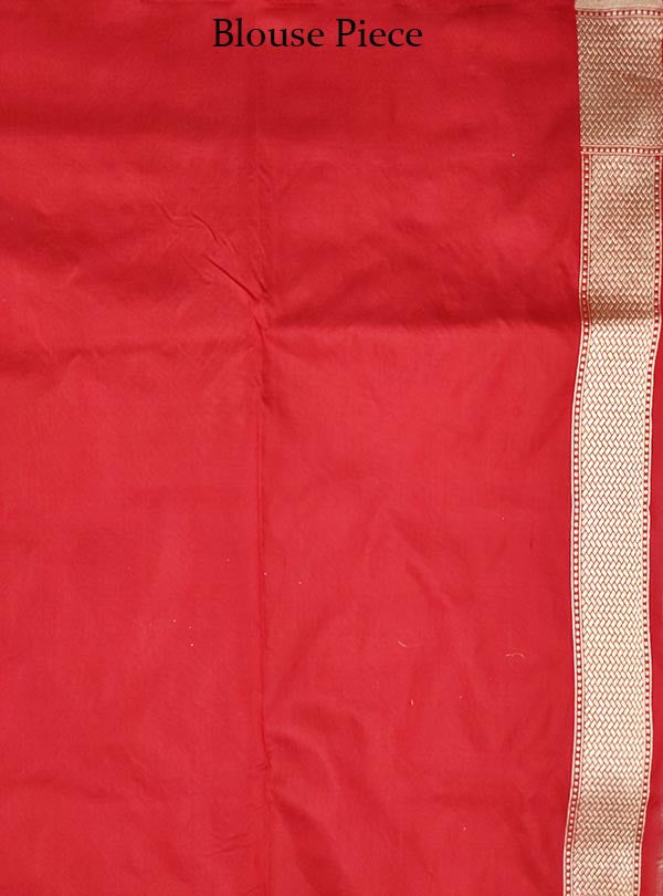 Red Katan silk handloom Banarasi saree with stylized leaf shape booti (5) Blouse