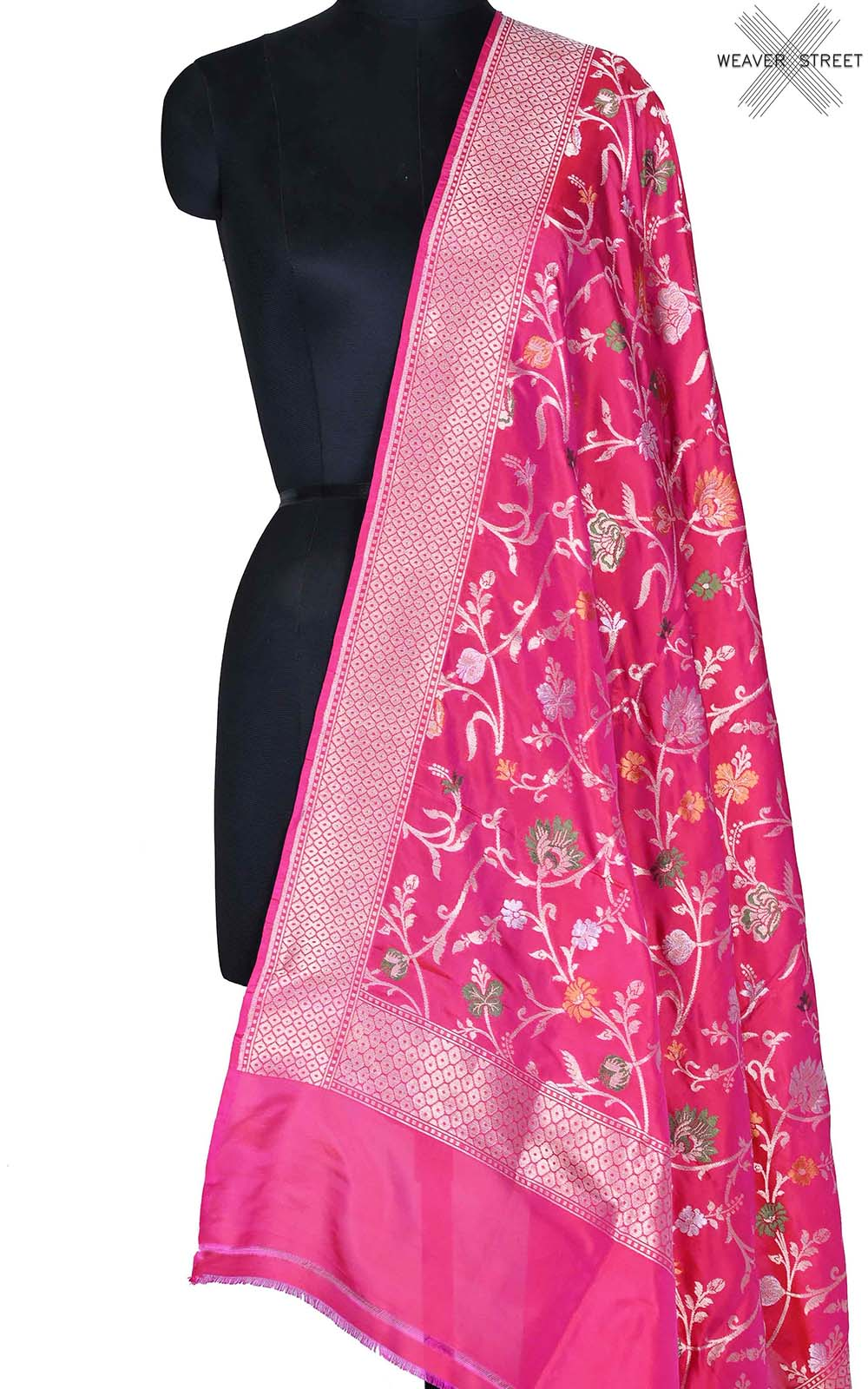 Red Pink Katan silk Banarasi dupatta with aesthetic meenedar floral jaal (1) Main