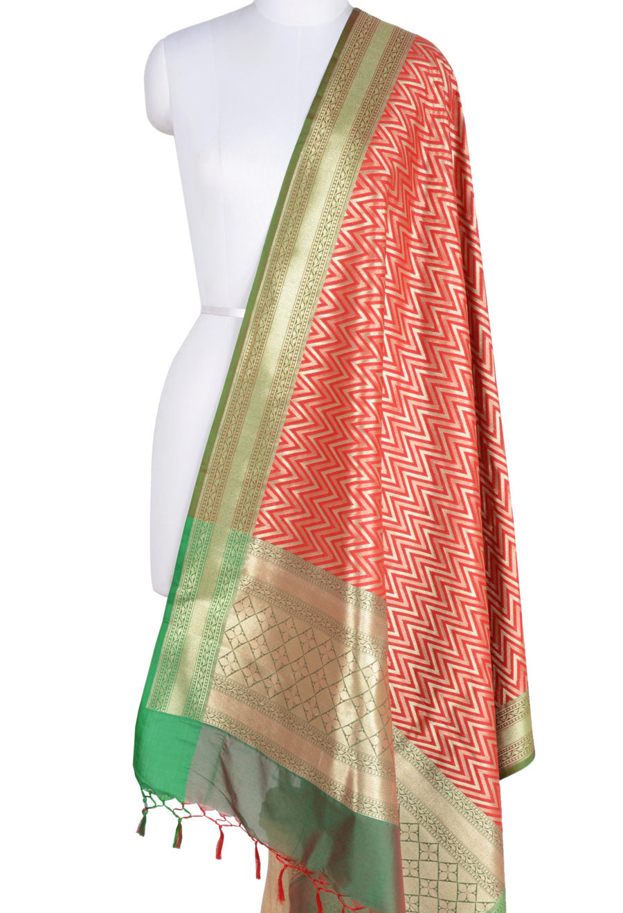 Red Art Silk Banarasi Dupatta with chevron pattern (1) Main