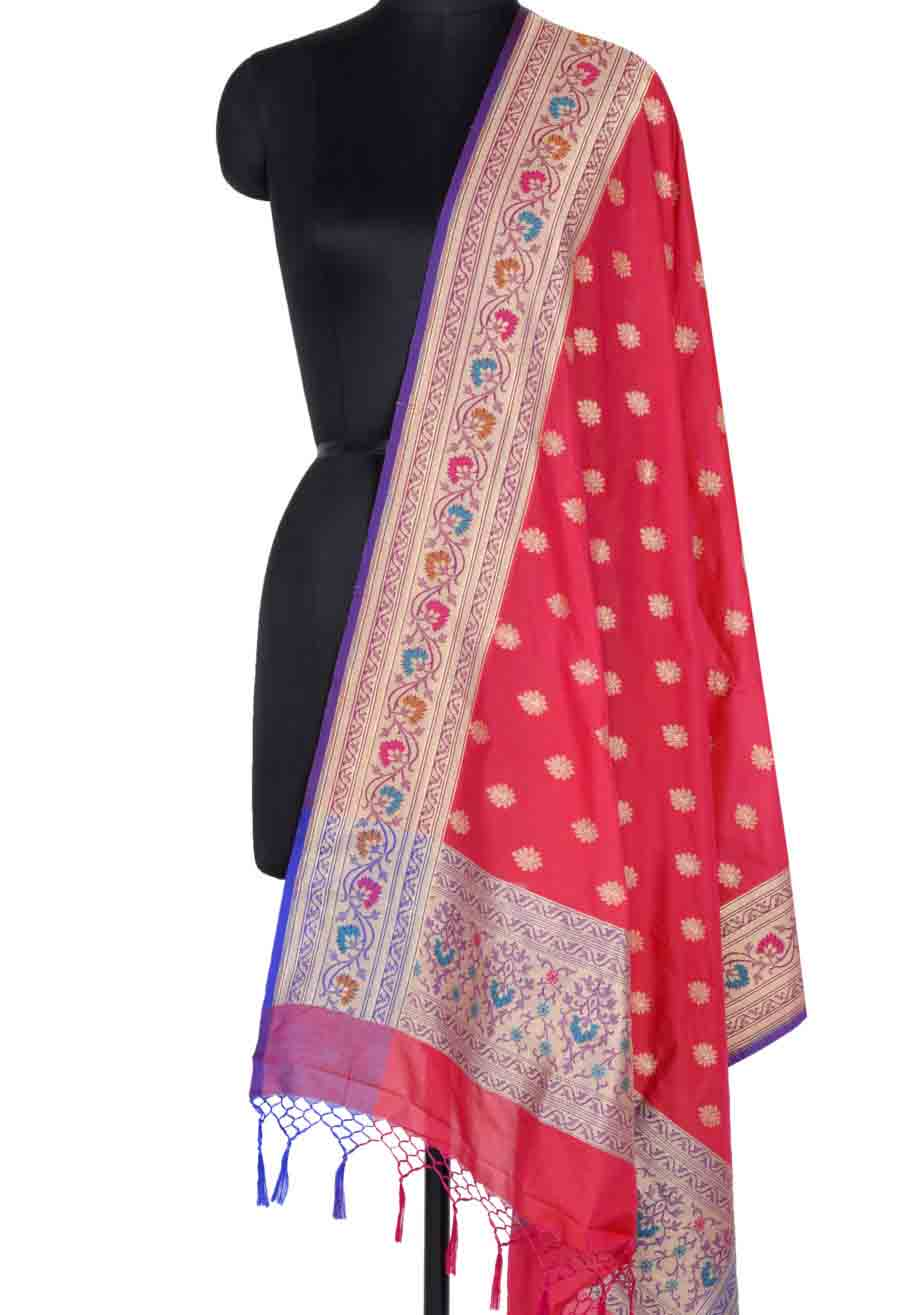Red Banarasi Dupatta with multi color border with leaf motif (1) Main