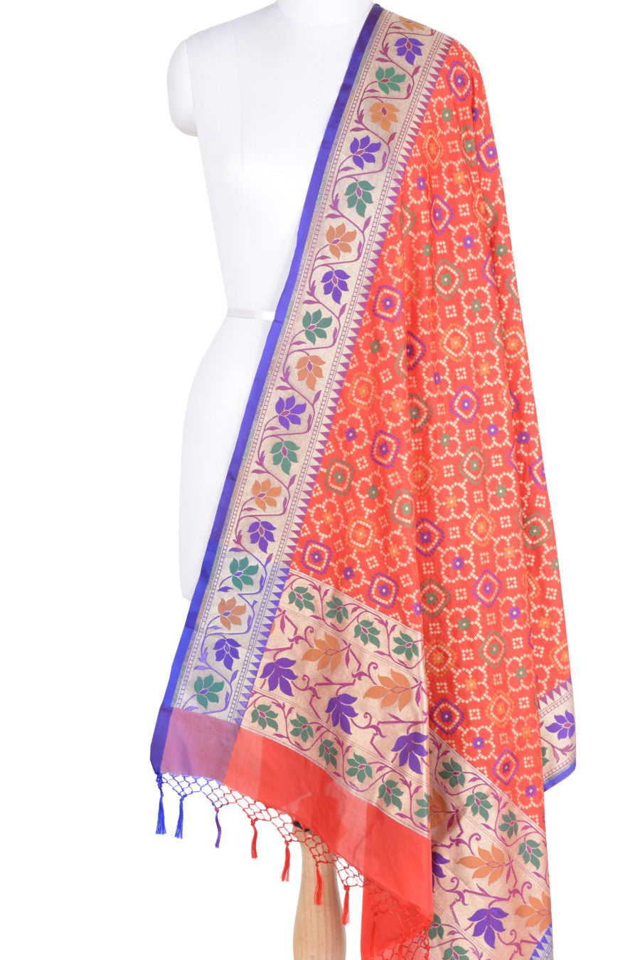 Red Banarasi dupatta with abstract and floral design (1) Main