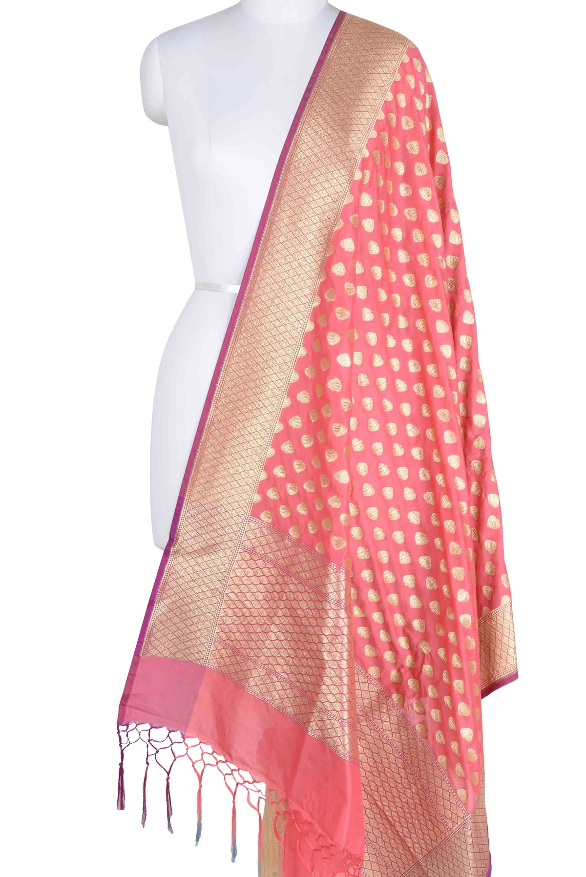 Red Banarasi dupatta with paan motifs (1) Main