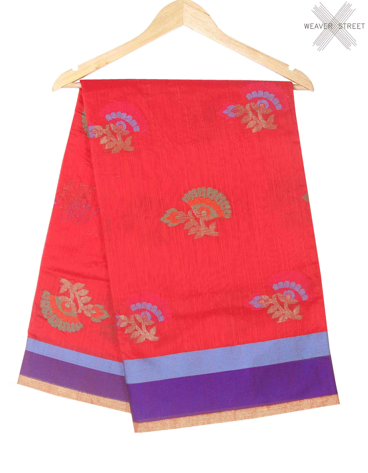 Red Cotton art silk Banarasi saree with meenedar flower boota (1) main