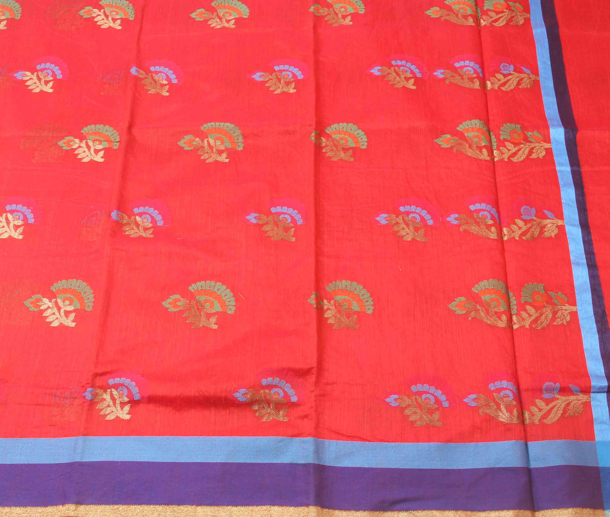 Red Cotton art silk Banarasi saree with meenedar flower boota (2) flat
