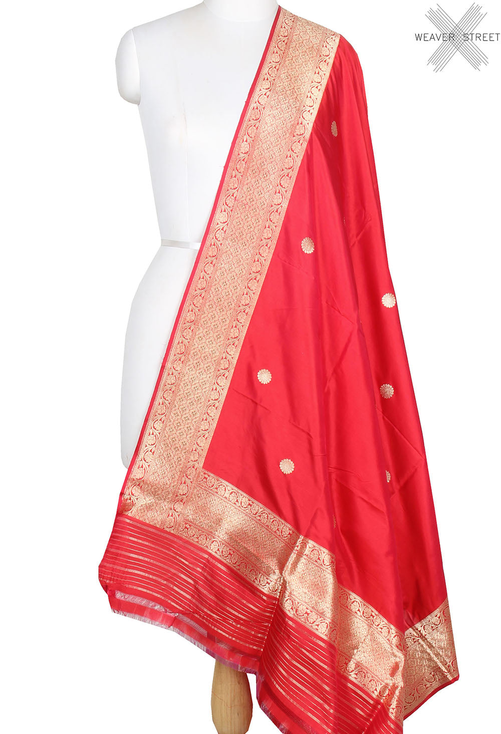 Red Katan Silk Handwoven Banarasi dupatta with kaduwa round booti (1) main