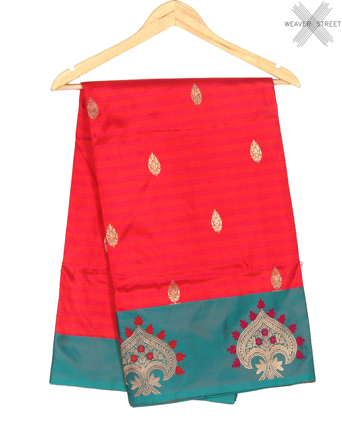 Red Katan Silk Handwoven Banarasi saree with kalgi border (1) Main