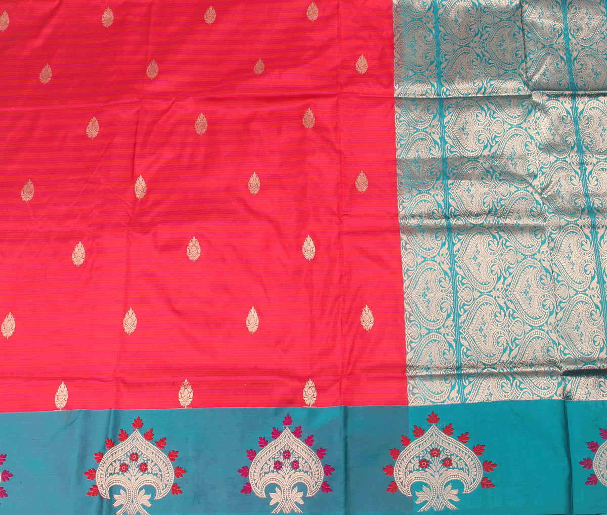 Red Katan Silk Handwoven Banarasi saree with kalgi border (2) Flat